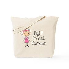 Stick Figure Fight Breast Cancer Tote Bag