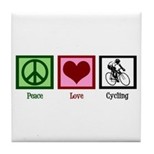 Peace Love Cycling Tile Coaster