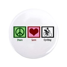"""Peace Love Cycling 3.5"""" Button"""