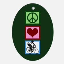 Peace Love Cycling Ornament (Oval)