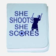 She shoots girls soccer Infant Blanket