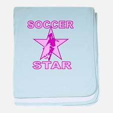 Pink female Soccer Star Infant Blanket