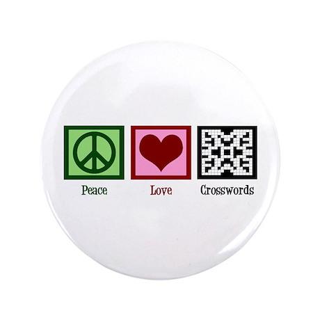"""Peace Love Crosswords 3.5"""" Button"""