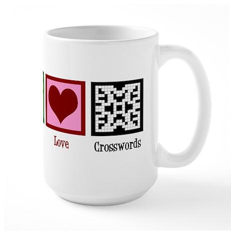 Peace Love Crosswords Large Mug