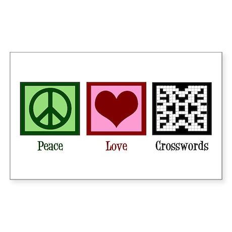 Peace Love Crosswords Sticker (Rectangle)