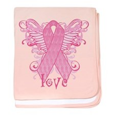 Pink Ribbon Love baby blanket