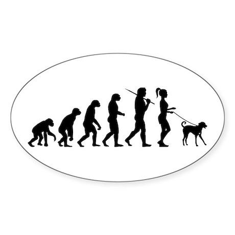 Girl Dog Walker Sticker (Oval)