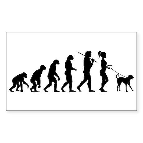 Girl Dog Walker Sticker (Rectangle)