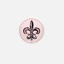 Pink Fleur de lis Survivor Mini Button (10 pack)