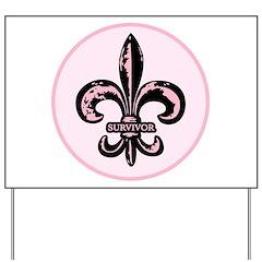 Pink Fleur de lis Survivor Yard Sign
