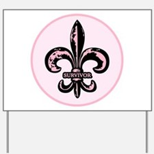 Pink Fleur de lis Survivor Yard Sign