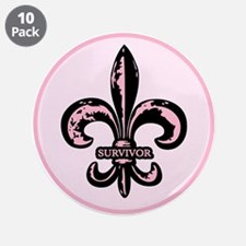"""Pink Fleur de lis Survivor 3.5"""" Button (10 pack)"""