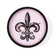 Pink Fleur de lis Survivor Wall Clock