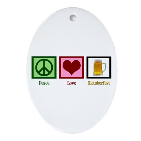 Peace Love Oktoberfest Ornament (Oval)