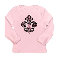 Pink Fleur Ribbon Long Sleeve Infant T-Shirt