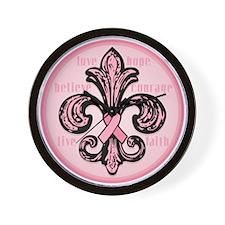 Pink Fleur Ribbon Wall Clock