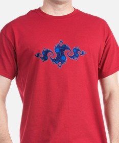 Blue Crest Fractal Black T-Shirt
