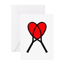 Heart Rackets - Greeting Card