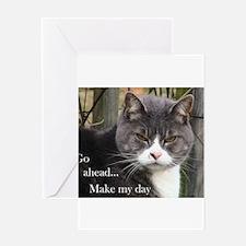 Go ahead Make my day - Cute Cat Greeting Card