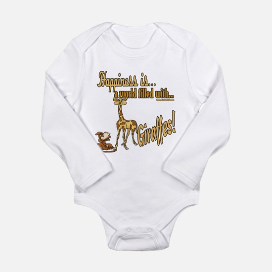 Happiness is a giraffe Long Sleeve Infant Bodysuit