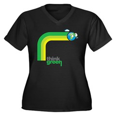 Think Green Earth Rainbow Women's Plus Size V-Neck