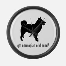 Norwegian Elkhound Large Wall Clock