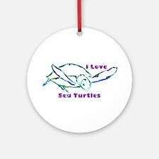 Sea Turtle Designs in Green & Ornament (Round)