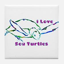 Sea Turtle Designs in Green & Tile Coaster