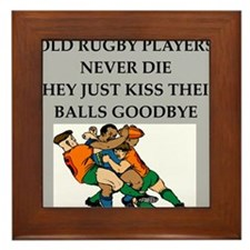 rugby player gifts t-shirts Framed Tile