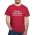 Wear Only Red Hide Wine Stain Dark T-Shirt