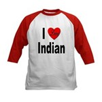 I Love Indian (Front) Kids Baseball Jersey