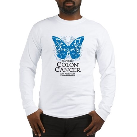 Colon Cancer Butterfly Long Sleeve T-Shirt