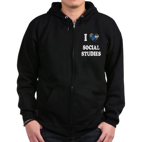 I Love School Shirts Gifts Zip Hoodie (dark)