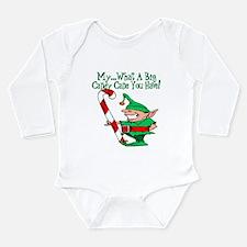 Candy Cane Elf Long Sleeve Infant Bodysuit