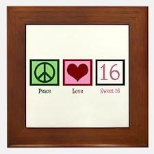 Peace Love Sweet 16 Framed Tile
