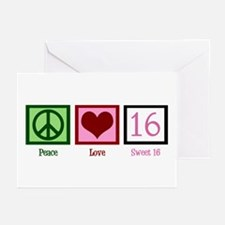 Peace Love Sweet 16 Greeting Cards (Pk of 10)