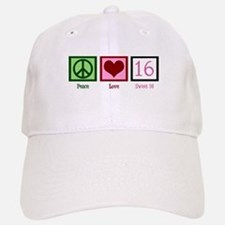 Peace Love Sweet 16 Baseball Baseball Cap