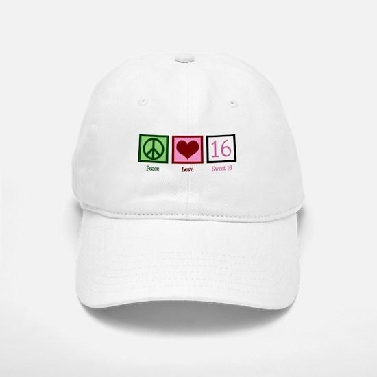 Peace Love Sweet 16 Baseball Baseball Cap