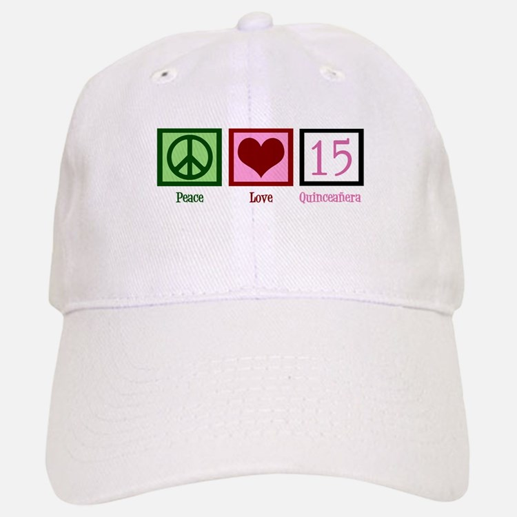 Peace Love Fifteen Baseball Baseball Cap