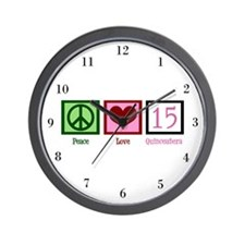 Peace Love Fifteen Wall Clock
