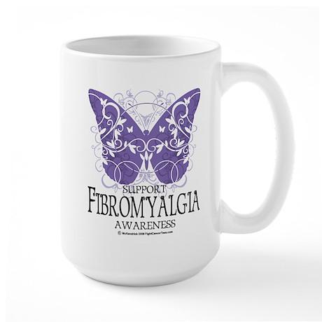 Support Fibromyalgia Butterfl Large Mug
