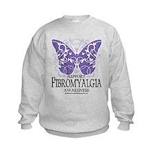 Support Fibromyalgia Butterfl Sweatshirt