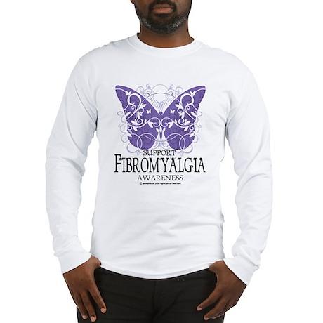 Support Fibromyalgia Butterfl Long Sleeve T-Shirt