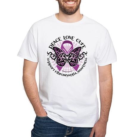 Fibromyalgia Butterfly Tribal White T-Shirt