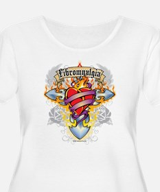 Fibromyalgia Cross & Heart T-Shirt