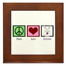 Peace Love Bunnies Framed Tile
