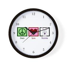 Peace Love Bunnies Wall Clock