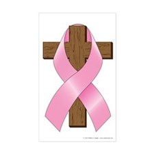 Pink Ribbon and Cross Sticker (Rectangle)