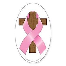Pink Ribbon and Cross Sticker (Oval 10 pk)