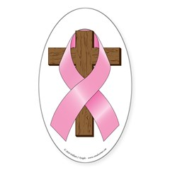 Pink Ribbon and Cross Decal